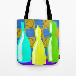 Moroccan Bottles with mustard wall Tote Bag