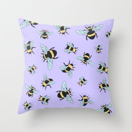 Bumble Bee (Lavender) Throw Pillow