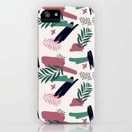 Abstract green mauve pink black brushstrokes foliage iPhone Case