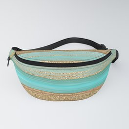 Turquoise Brown Faux Gold Glitter Stripes Pattern Fanny Pack