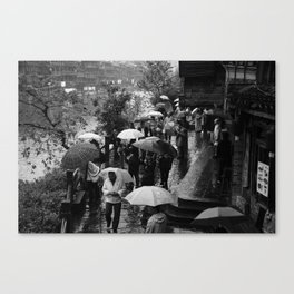 A rainy day is black and white Canvas Print
