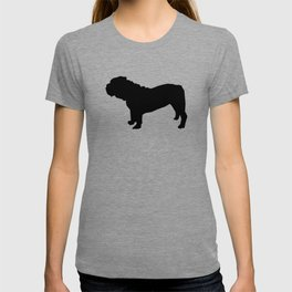 English Bulldog black and white minimal modern dog art bulldogs silhouette T-shirt