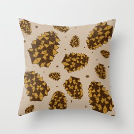 pine cones. abstract pattern of pine cones and nuts Throw Pillow