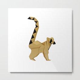 Origami Lemur Metal Print