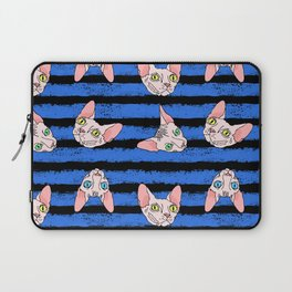 sphynx cats on blue and black Laptop Sleeve
