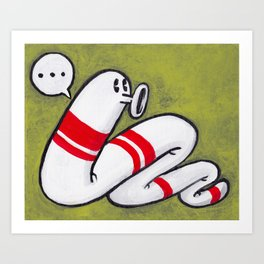 Early Worm - Worm on Green #3 Art Print