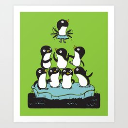 Penguin Pyramid - Green Art Print