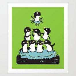 Penguin Pyramid - Green Art Print