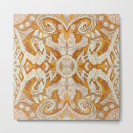 Curves and lotuses, abstract arabesque, golden yellow and vanilla Metal Print