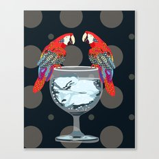 parrots on the cup of glass Canvas Print