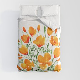 Watercolor California poppies Comforters