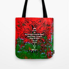 Serenity Prayer Inspirational Quote With Creative Motivational Art Tote Bag