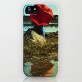 Girl with Red Umbrella iPhone Case