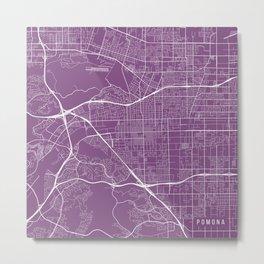 Pomona Map, USA - Purple Metal Print