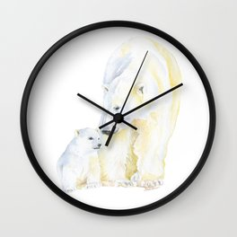 Mother and Baby Polar Bears Watercolor Wall Clock