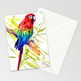 Parrot Scarlet Macaw, Tropical Birds, Jungle Red, Green Blue bright colored tropical artwork Stationery Cards