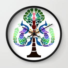 Peacocks and Pomegranates Wall Clock