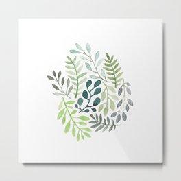 watercolor garden plants Metal Print