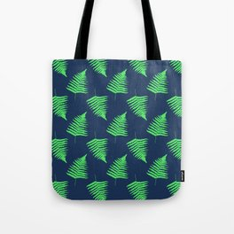 Navy and Lime Fern Pattern Tote Bag