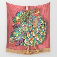 chicken Wall Tapestries featuring Dream Chicken by Michelle Bowden Art
