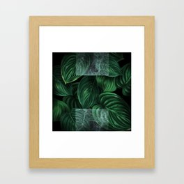 tropical green pattern on black Framed Art Print