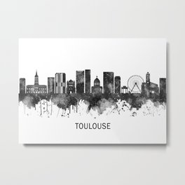 Toulouse France Skyline BW Metal Print