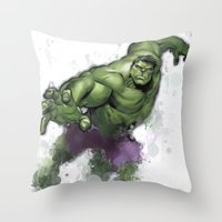 hulk Throw Pillows featuring Hulk  by Isaak_Rodriguez