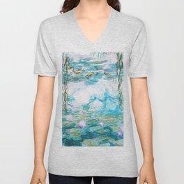 Water Lilies Monet Aqua Turquoise Unisex V-Neck