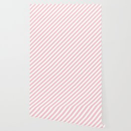 Light Millennial Pink Pastel and White Candy Cane Stripes Wallpaper