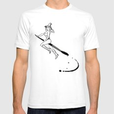 broom and brush witchcraft SMALL Mens Fitted Tee White