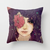 jenny liz rome Throw Pillows featuring Liz by Megan Lara