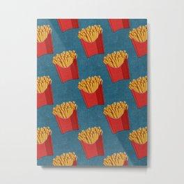 FAST FOOD / Fries - pattern Metal Print