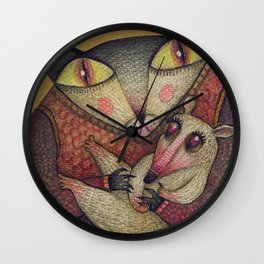 Little orphaned rat adopted by Mother Cat Wall Clock