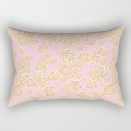 Pink n' Yellow Sketchy Rose Print Rectangular Pillow