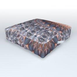 Warm center of ice crystal mandala Outdoor Floor Cushion
