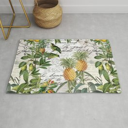Tropical Fruit Illustration Vintage Style Rug