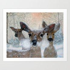 Deer in the Snowy Woods Art Print