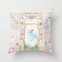 Rococo room with a garden view Throw Pillow