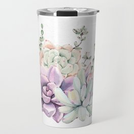 Succulents Mint and Purple by Nature Magick Travel Mug