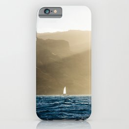 Na Pali Coast Hawaii Sunset Sailboat  iPhone Case