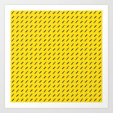 Black, white and yellow pattern Art Print
