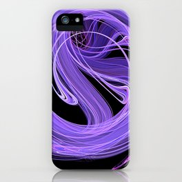 Purple-Lilac Swirling Fire Fractal Design iPhone Case