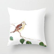 Bird painted on wood Throw Pillow