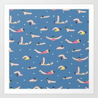 swimming Art Prints featuring Swimming by Sara Maese