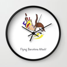 Flying Barcelona Attack Wall Clock