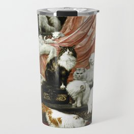 My Wife's Lovers by Carl Kahler, 1883 - Famous Cat Painting Travel Mug