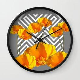 YELLOW CALIFORNIA POPPIES MODERN GREY PATTERNS Wall Clock