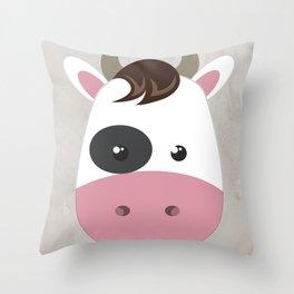 cow cartoon watercolour modern art Throw Pillow
