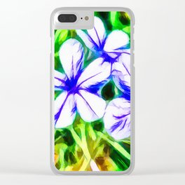Blue Plumbago flower Clear iPhone Case