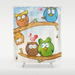 funny owl group cartoon on tree Shower Curtain